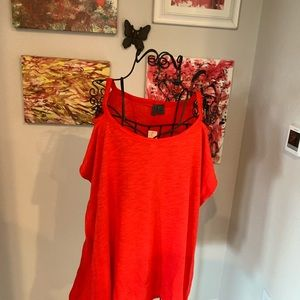 Red cold-shoulder top from Anthropologie